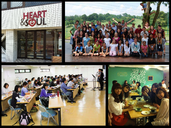 Clockwise from top: 1. The outside of the H&S cafe 2. all 57 MKs living in Asia/Pacific 3. Students hanging out at the H&S cafe and 4. Students in a course at Christ Bible Seminary