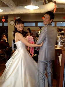 Two of our new graduates at their wedding this past winter. Yu and Asako.