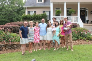 Us with Brooks' family after we all gathered to celebrate Marley's baptism.