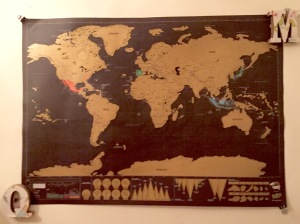 A world map in Quinn and Marley's room where they scratch off each country we've all visited.